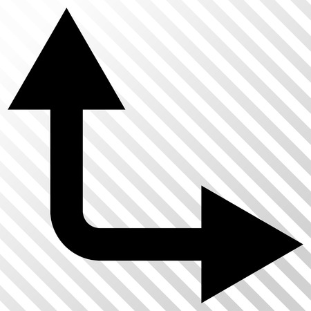 bifurcation: Bifurcation Arrow Right Up vector icon. Image style is a flat black pictogram symbol on a hatch diagonal transparent background.
