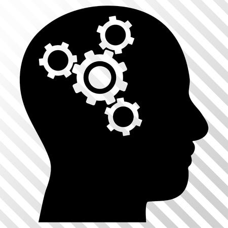 Icona di vettore di Brain Mechanics. Lo stile immagine è un simbolo icona piatto nero su uno sfondo trasparente diagonale tratteggio. Vettoriali