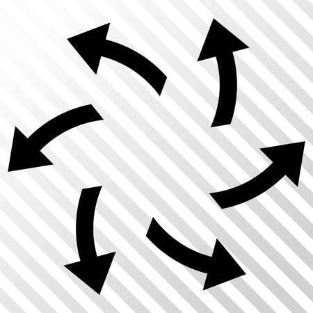 Centrifugal Arrows vector icon. Image style is a flat black icon symbol on a hatch diagonal transparent background. Illustration