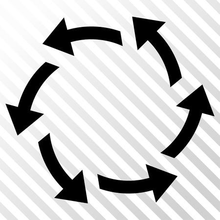 cíclico: Centrífugas icono de las flechas del vector. estilo de la imagen es un símbolo icónico negro plano sobre un fondo transparente diagonal escotilla.