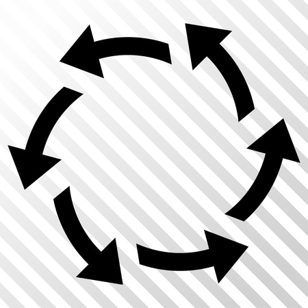 Centrifugal Arrows vector icon. Image style is a flat black iconic symbol on a hatch diagonal transparent background. Illustration