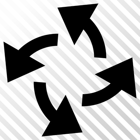 hatch: Centrifugal Arrows vector icon. Image style is a flat black pictogram symbol on a hatch diagonal transparent background.