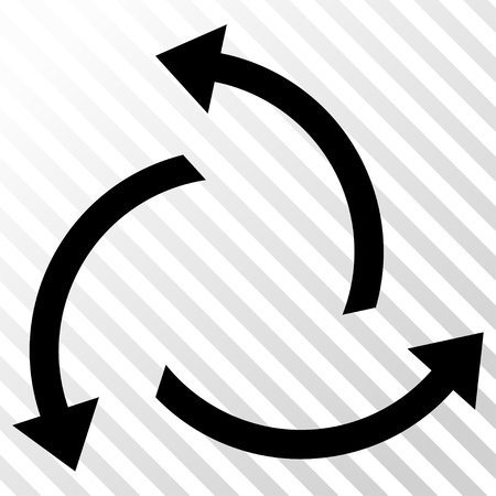 Centrifugal Arrows vector icon. Image style is a flat black pictograph symbol on a hatch diagonal transparent background. Illustration