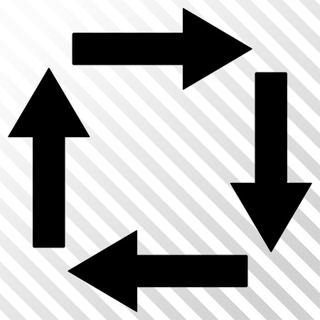 hatch: Circulation Arrows vector icon. Image style is a flat black iconic symbol on a hatch diagonal transparent background.