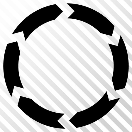 revolve: Circulation vector icon. Image style is a flat black pictograph symbol on a hatch diagonal transparent background. Illustration
