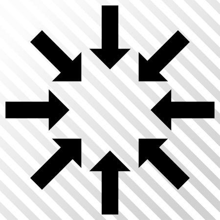 collapse: Collapse Arrows vector icon. Image style is a flat black pictogram symbol on a hatch diagonal transparent background.
