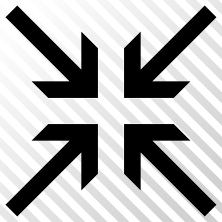 collide: Collide Arrows vector icon. Image style is a flat black icon symbol on a hatch diagonal transparent background.