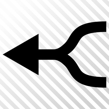 unite: Combine Arrow Left vector icon. Image style is a flat black pictogram symbol on a hatch diagonal transparent background.