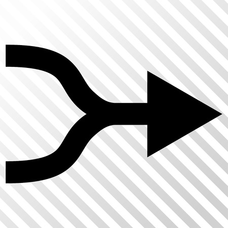unite: Combine Arrow Right vector icon. Image style is a flat black iconic symbol on a hatch diagonal transparent background.
