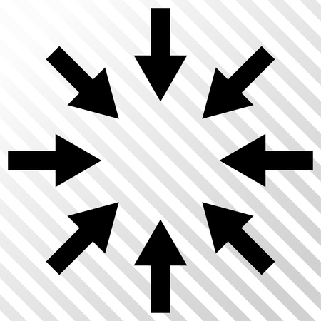 shrink: Compact Arrows vector icon. Image style is a flat black pictogram symbol on a hatch diagonal transparent background. Illustration