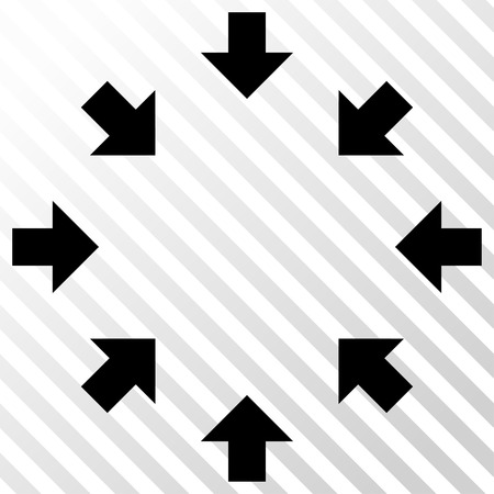 concentrate: Compact Arrows vector icon. Image style is a flat black pictograph symbol on a hatch diagonal transparent background.