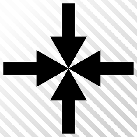 clash: Compress Arrows vector icon. Image style is a flat black icon symbol on a hatch diagonal transparent background.