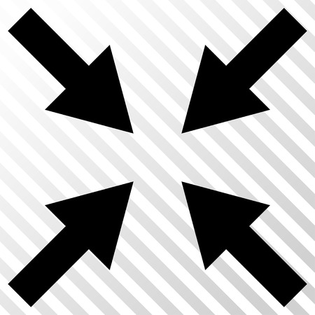 concentrate: Compress Arrows vector icon. Image style is a flat black pictogram symbol on a hatch diagonal transparent background. Illustration