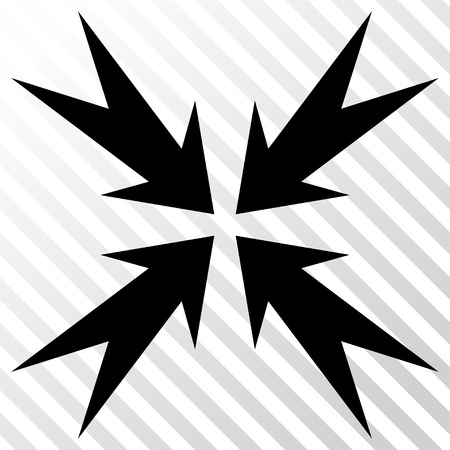 Compression Arrows vector icon. Image style is a flat black pictograph symbol on a hatch diagonal transparent background. Illustration