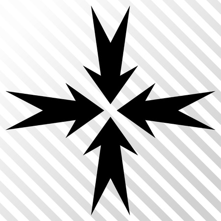 collide: Compression Arrows vector icon. Image style is a flat black iconic symbol on a hatch diagonal transparent background. Illustration