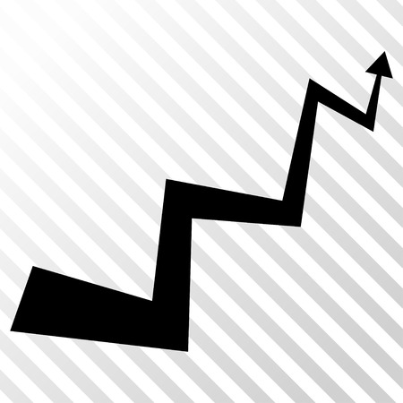 the hatch: Curve Arrow vector icon. Image style is a flat black pictograph symbol on a hatch diagonal transparent background.