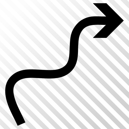 hatch: Curve Arrow vector icon. Image style is a flat black iconic symbol on a hatch diagonal transparent background.