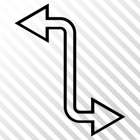 Curved Exchange Arrow vector icon. Image style is a flat black icon symbol on a hatch diagonal transparent background.