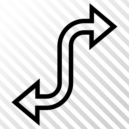 Curved Exchange Arrow vector icon. Image style is a flat black pictogram symbol on a hatch diagonal transparent background.