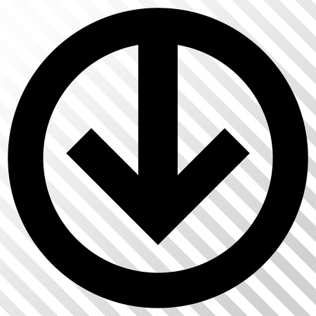 redirect: Direction Down vector icon. Image style is a flat black icon symbol on a hatch diagonal transparent background.