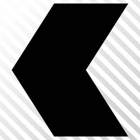 redirect: Direction Left vector icon. Image style is a flat black pictogram symbol on a hatch diagonal transparent background.