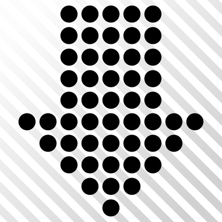 Dotted Arrow Down vector icon. Image style is a flat black iconic symbol on a hatch diagonal transparent background.