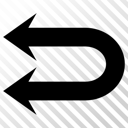 the hatch: Double Left Arrow vector icon. Image style is a flat black pictograph symbol on a hatch diagonal transparent background. Illustration