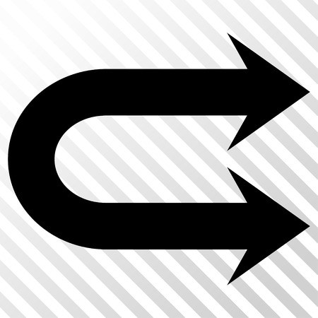 Double Right Arrow vector icon. Image style is a flat black pictogram symbol on a hatch diagonal transparent background. Illustration
