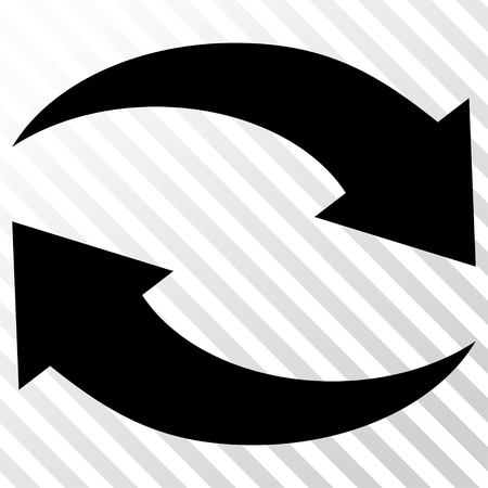 hatch: Exchange Arrows vector icon. Image style is a flat black iconic symbol on a hatch diagonal transparent background. Illustration