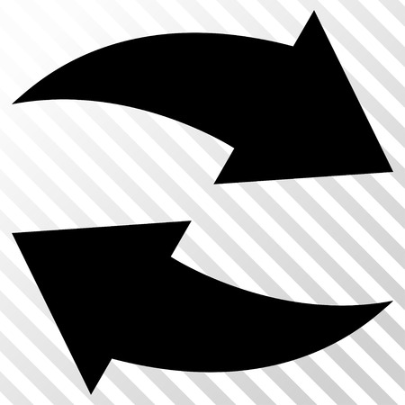 the hatch: Exchange Arrows vector icon. Image style is a flat black iconic symbol on a hatch diagonal transparent background. Illustration