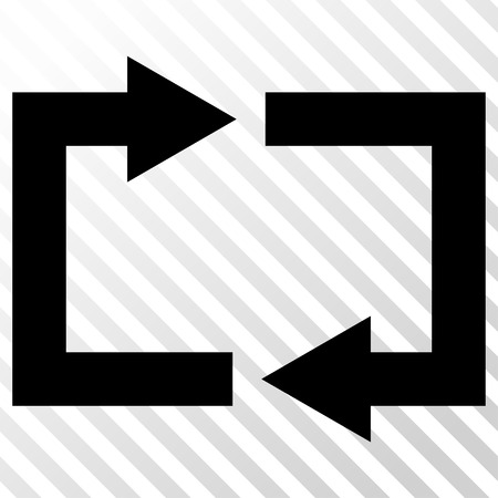 restoring: Exchange Arrows vector icon. Image style is a flat black pictogram symbol on a hatch diagonal transparent background.