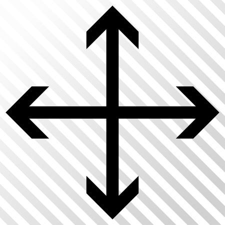 Ampliar el icono de las flechas del vector. estilo de la imagen es un símbolo de icono negro plano sobre un fondo transparente diagonal escotilla. Vectores