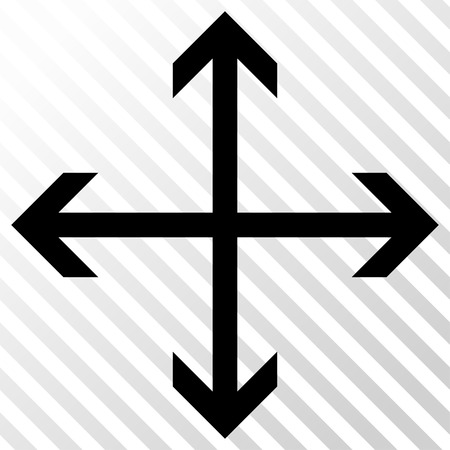 Expand Arrows vector icon. Image style is a flat black icon symbol on a hatch diagonal transparent background.