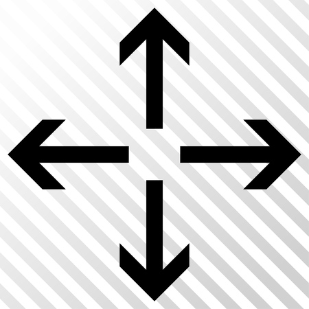 Expand Arrows vector icon. Image style is a flat black pictograph symbol on a hatch diagonal transparent background.