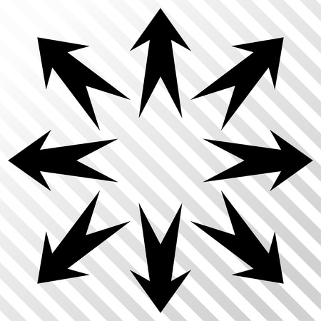 expand: Expand Arrows vector icon. Image style is a flat black pictogram symbol on a hatch diagonal transparent background.