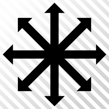 full size: Expand Arrows vector icon. Image style is a flat black pictogram symbol on a hatch diagonal transparent background.