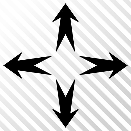 Expand Arrows vector icon. Image style is a flat black pictogram symbol on a hatch diagonal transparent background.