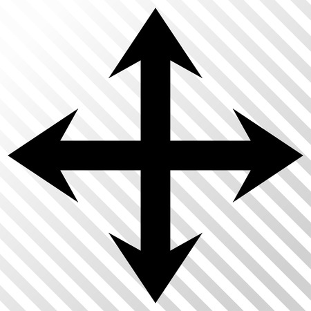expand: Expand Arrows vector icon. Image style is a flat black icon symbol on a hatch diagonal transparent background.
