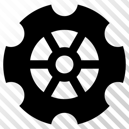 hatch: Gear vector icon. Image style is a flat black icon symbol on a hatch diagonal transparent background.