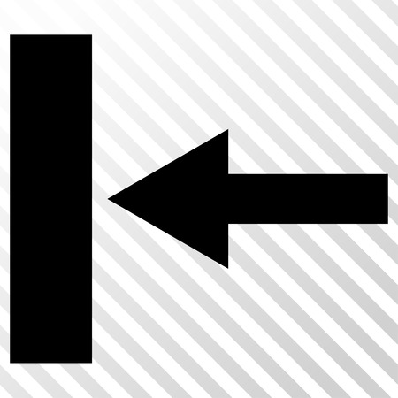 hatch: Move Left vector icon. Image style is a flat black pictogram symbol on a hatch diagonal transparent background.