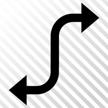 the hatch: Opposite Bend Arrow vector icon. Image style is a flat black pictograph symbol on a hatch diagonal transparent background.