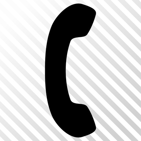 phone receiver: Phone Receiver vector icon. Image style is a flat black pictograph symbol on a hatch diagonal transparent background.