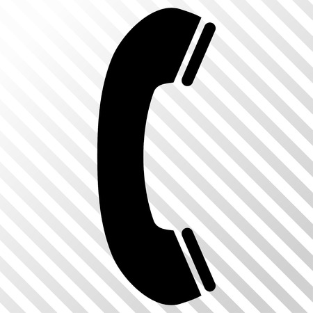 phone receiver: Phone Receiver vector icon. Image style is a flat black pictogram symbol on a hatch diagonal transparent background.