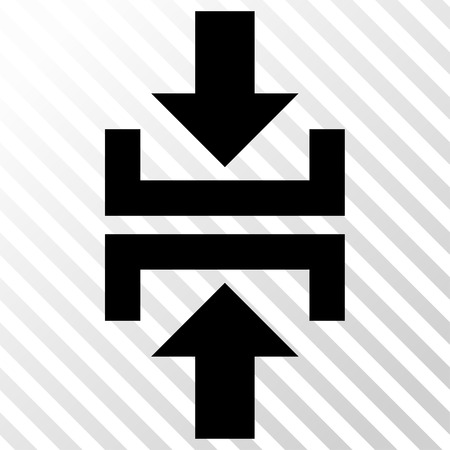 clash: Press Vertical Direction vector icon. Image style is a flat black pictograph symbol on a hatch diagonal transparent background.