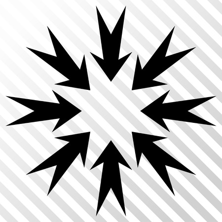 Pressure Arrows vector icon. Image style is a flat black icon symbol on a hatch diagonal transparent background.