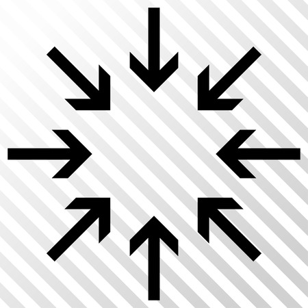 concentrate: Pressure Arrows vector icon. Image style is a flat black icon symbol on a hatch diagonal transparent background.