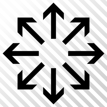 Radial Arrows vector icon. Image style is a flat black iconic symbol on a hatch diagonal transparent background.