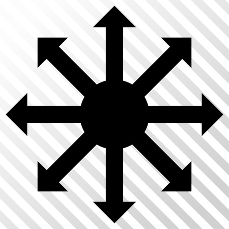 full size: Radial Arrows vector icon. Image style is a flat black iconic symbol on a hatch diagonal transparent background.
