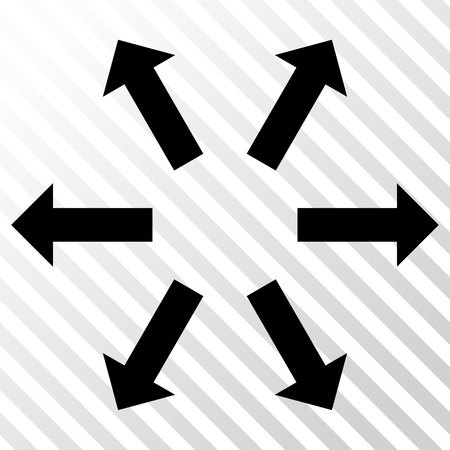 Radial Arrows vector icon. Image style is a flat black pictogram symbol on a hatch diagonal transparent background.