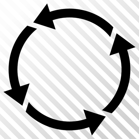 Recycle vector icon. Image style is a flat black icon symbol on a hatch diagonal transparent background.